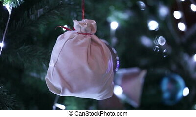 Bag for gift on Christmas tree - On Christmas tree hanging...