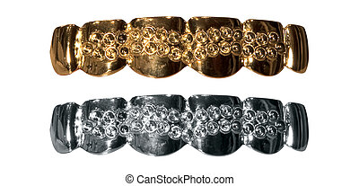 Gold teeth - Fake gold and silver teeth with missing...