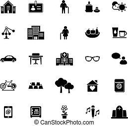Retirement community icons on white background