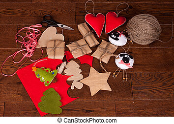 Christmas gift and decor on wooden background - Christmas...