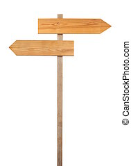 Direction sign - Wooden direction sign isolated on white...