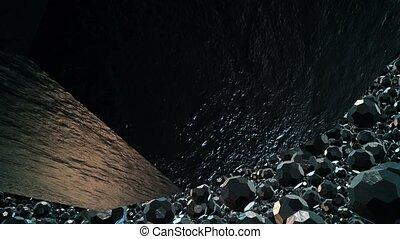 Black metallic flying multifaceted balls on black
