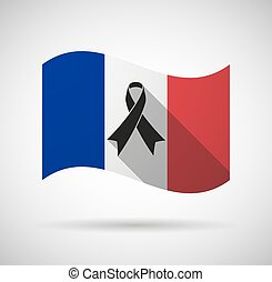 France long shadow flag with a black ribbon - Illustration...
