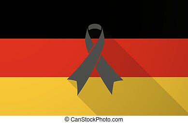 Germany long shadow flag with a black ribbon