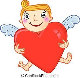 Cupid with heart.
