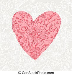 Valentine background wiht ornate heart - Ornate Valentine...