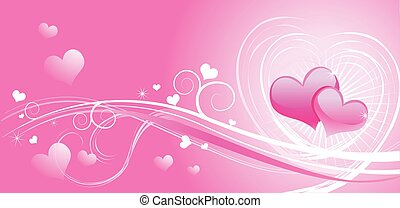 Valentine background wiht hearts - Glass Valentine red...