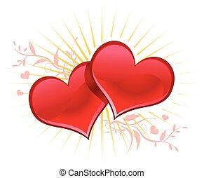 Valentine background wiht two hearts. - Glass Valentine red...