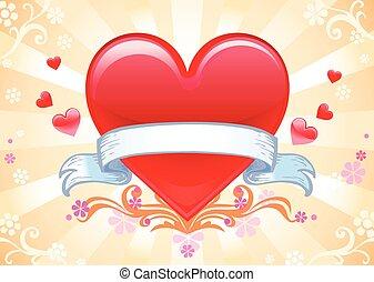 Valentine background wiht heart. - Glass Valentine red heart...