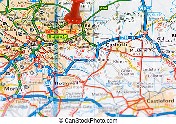 Street Map of  Leeds - Street Map of Leeds with red pin