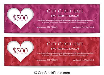 Valentine gift certificate with paper heart and heart...