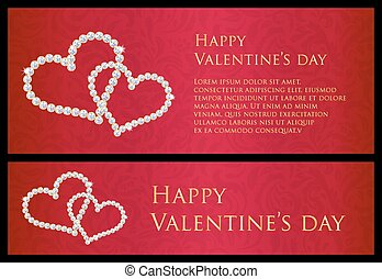 Red Valentine gift card with entwined hearts composed from...