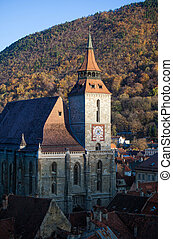The Black Church cathedral in Brasov medieval city,...