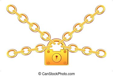 Gold lock on chain - Lock from gild on chain on white...