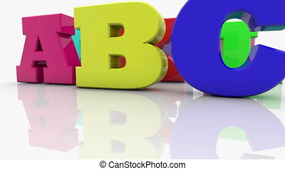 Colorful mixed different letters with word ABC