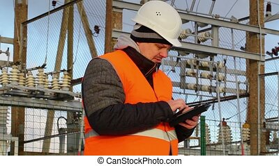 Electrical Engineer with tablet PC