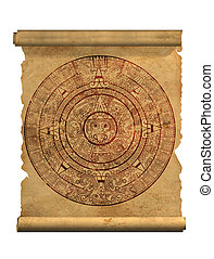 Maya calendar on ancient parchment - over white