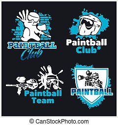 Paintball emblem and logo - vector set - Paintball set -...