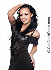 Beautiful young woman with black hair - Beautiful young...