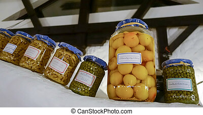 Jars of vegetables in Budapest