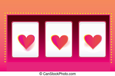 Casino luck - Slot machine with triple hearts. Vector...