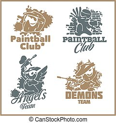 Paintball emblem and logo - vinyl-ready vector set -...