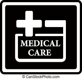 black medical care icon - black icon with medical care white...