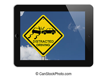 Warning of Distracted Driving, Tablet Phone Warning of...