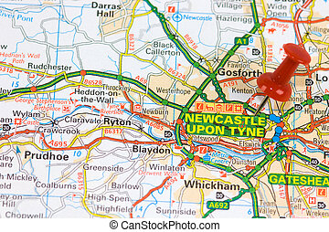Street Map of Newcastle with red pin