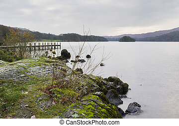 coniston water Lake district cumbria - coniston water in the...