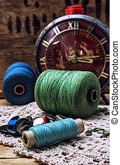 sewing threads - spool sewing thread and buttons in vintage...