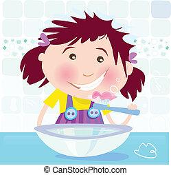 Girl is brushing teeth - Small girl in bathroom. Vector...