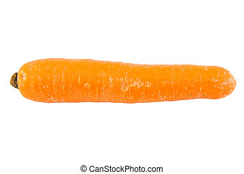 Close up of one carrot isolated on white background.