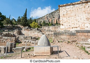Navel to the world at the Temple of Apollo, Delphi, Greece