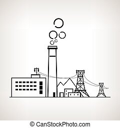 Silhouette coal power station, vector illustration -...