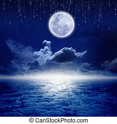 Full moon night - Full moon in night sky with falling stars...
