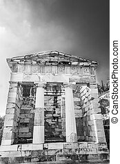 The Athenian Treasury at Delphi, Greece - Ancient ruins of...