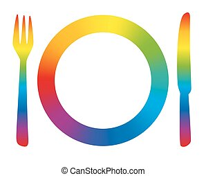Place Setting Menu Rainbow - Rainbow colored place setting...
