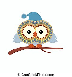 Funny owl in hat is sitting on a br