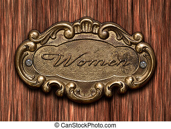 womens toilet - bronze-colored, ornate, antique door sign of...