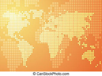 World map mosaic - Abstract illustration of world map in...