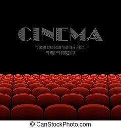 Cinema screen - Cinema auditorium with black screen and red...