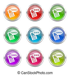sms icons set phone sign