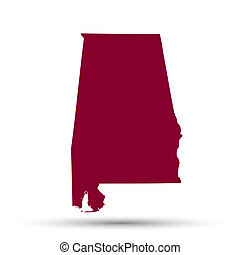Map of the US state of Alabama on a white background
