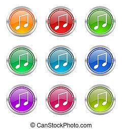 music icons set note sign