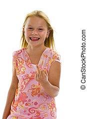 little girl showing middle finger, isolated on white