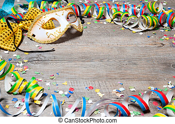 Colorful carnival background with garlands, streamer, party...