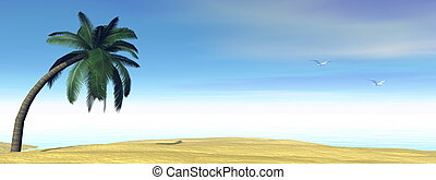 Tropical scenery - 3D render - Palm tree, beach and ocean by...