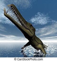 Dinosaurio,  mesosaurus,  -,  render,  3D
