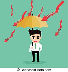 businessman holding umbrella protect risk.